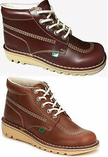KICKERS Kick Hi Boots Shoes Lace Up Leather DarkTan Dark Red Sizes: EU 40 - 46
