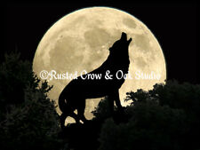 Wolf Howling to the Full Moon Matted Picture Home Wall Art Interior Decor A303