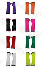 NEON UV PLAIN RED PINK BLACK LONG GLOVES CYBER RAVE TUTU FANCY DRESS CLUBWEAR