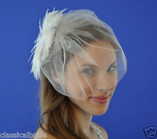 "10"" Tulle VEIL SET w/ 803 PEARL Feather Fascinator Clip & Ivory / White Birdcage"