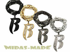 """Hip Hop Iced Out RUFF RYDER Inspired """"R"""" Pendant Necklace Figaro Chain MSP330"""