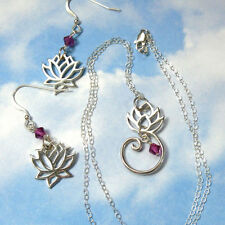 Lotus Flower Sterling Silver Necklace & Earring Set w/ fuchsia pink crystals