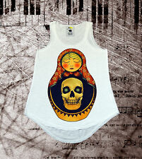 SKULL RUSSIAN DOLL, MATRYOSHKA, COOL DESIGNER FASHION VEST,LADIES TOP,ONE SIZE