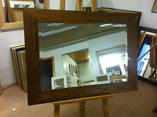 """NEW LARGE 4"""" FLAT MEDIUM OAK STAINED SOLID OAK FRAMED OVERMANTLE WALL MIRRORS"""