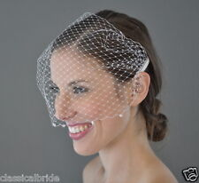 BICONE CRYSTAL RHINESTONE 9 Inch Short Birdcage Blusher Veil In Ivory or White