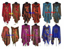 Double-face Chinese Lady Pashmina/Silk Shawl/Scarf With Butterfly