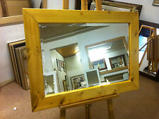 NEW LARGE CHUNKY LIGHT OAK STAINED SOLID PINE OVERMANTLE WALL MIRRORS