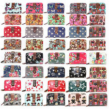 LADIES DESIGNER OILCLOTH VINTAGE OWL FLOWER POLKA DOT PURSE WALLET WITH DUST BAG