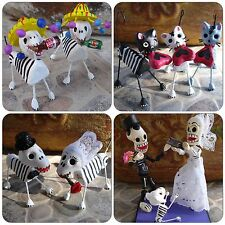 Day of the Dead Dia de los Muertos Cat Dog Wedding Couple Cake topper Corona XX