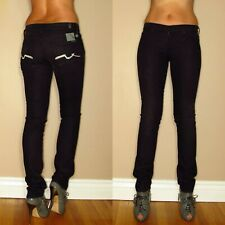 Seven 7 For All Mankind Roxanne Skinny Jet Black Jeans Crystal Squiggle 24 25 XS