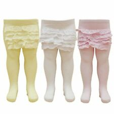 Baby Girl Frilly Bum Tights Pink Cream White Cotton Layered Frilled 0-24 M Sale