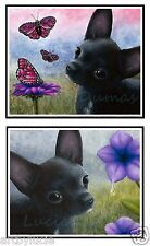 Note Greeting Cards set of 4, Dog 91 or 94 black Chihuahua art painting L.Dumas