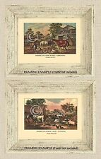 Set of 2 AMERICAN FARM YARD Currier & Ives RANCH ANIMALS 1857 Antique ART PRINTS