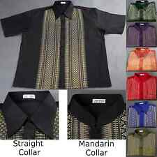 Traditional Thai Silk Mens Shirt/Short Sleeve/Straight or Mandarin Band Collar