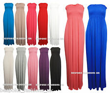 H2B Women's Shirring Gather Boobtube Bandeau Ladies Summer Strapless Maxi Dress