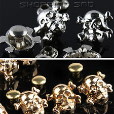 DIY Silver/Gold Skull Cross Bone Metal Studs Spots Spike Rivets Nailhead 10mm