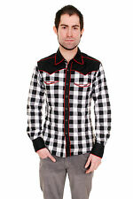 MENS WESTERN 50s 60s ROCKABILLY PSYCHOBILLY PLAID PIPING SHIRT NEW XS S M L XL