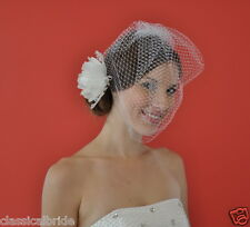 Full 906 VEIL SET w/ PEONY Feather Fascinator Clip & Ivory / White Birdcage Veil