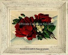 Romantic RED ROSES and LILY OF THE VALLEY Victorian Vintage Antique ART PRINT