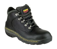MENS DR MARTENS LEATHER SAFETY STEEL TOECAP WORK BOOTS BLACK FAB454