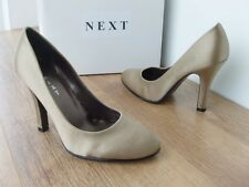 UK 3  3.5 NEXT SOFT  PALE GOLD SATIN FABRIC EVENING PARTY STILETTO COURT SHOE