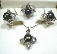 Cultured White/Black Pearl Necklace, Matching Earring & Ring Set, Ring Size 6.5