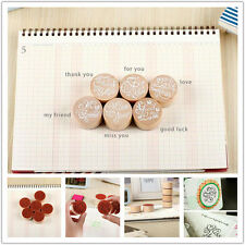 6 x  types Round wooden Retro Romantic Greetings Teaser seal
