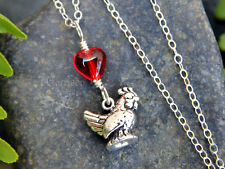 I love chickens sterling silver necklace - tiny rooster or hen & cute red glass