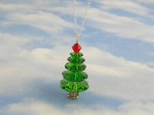 Fern green & cherry red crystal Christmas tree necklace - sterling silver chain