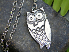 Wise Owl Necklace- handmade fine silver bird charm, oxidized sterling chain