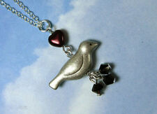 Love bird necklace - silver plate charm, garnet red heart, sterling silver chain
