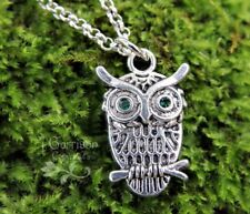 Antiqued Silver Owl Necklace- Green Crystal Eyes -silver plated chain- handmade