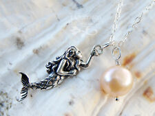 Mermaid & Pearl necklace - sterling silver charm & pale pink pearl -ocean bounty