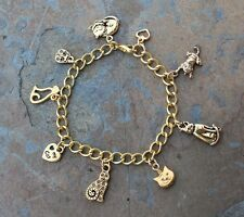 Love Cat Charm Bracelet -22k gold plated kitty & heart, gold plated chunky chain