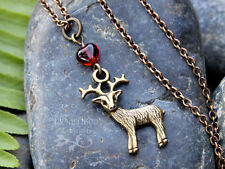 Bronze Deer Heart Necklace- antiqued brass, red heart - Harry Potter Patronus