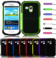 2 PIECE ARMOUR TOUGH SHOCKPROOF HARD CASE COVER FOR SAMSUNG GALAXY S3 MINI I8190