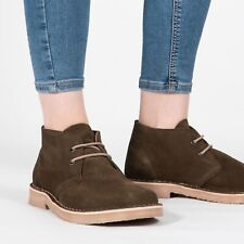 Mens Womens Ladies Roamers Round Toe Suede Leather Desert Boots Khaki Green New