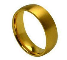 Titanium 7mm Dome Comfort Fit Gold Tone Wedding Band Ring Satin Finish Size 8-12