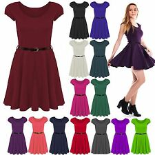 Plus Size Womens Belted Cap Sleeves Celeb Flare Franki Ladies Skater Party Dress