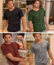 Mens 100% Silk Knitted  T-Shirts Short Sleeve Shirts Casual-Tee S M L XL  Top