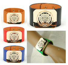 Womens Genuine Leather Cuff Wide Bracelet Leopard Animal Wristband Bangle Snap