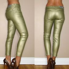 $198 Seven 7 For All Mankind Skinny Gold Metallic Leather-Look Jeans 25-28