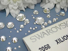 Clear Swarovski Flat-Back Crystals 2058 *No Hot Fix* ALL SIZES Platinum Foiled