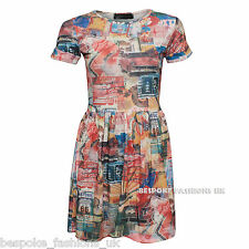 H6C New Women's Signage Printed Skater Dress Turn Up Cap Sleeve Ladies Top