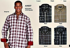 Mens fashionable dress shirt with buttoned collar, plaid design AH607