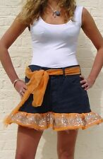 VINTAGE LEVI'S REWORKED NAVY CORD MINI SKIRT EMBROIDERY SEQUIN RUFFLE UK SIZE 10
