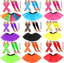 3 LAYER TUTU SKIRTS NEON LEG WARMERS GLOVES BEADS 1980S FANCY DRESS HEN PARTY