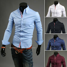 2014 New Style Solid Long Sleeve Mens Casual Dress Shirts Tops White Blue M-XXL