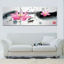 Lotus Chinese water color painting Canvas Print Set High quality-ready to hang