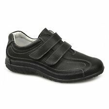 Boulevard Womens Ladies Extra Wide EEE Fit Velcro Leather Casual Shoes Black New